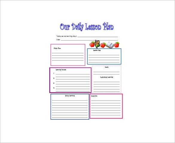 preschool daily lesson plan template download