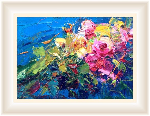 abstract flowers painting canvas art