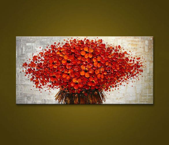 modern abstract red flower painting