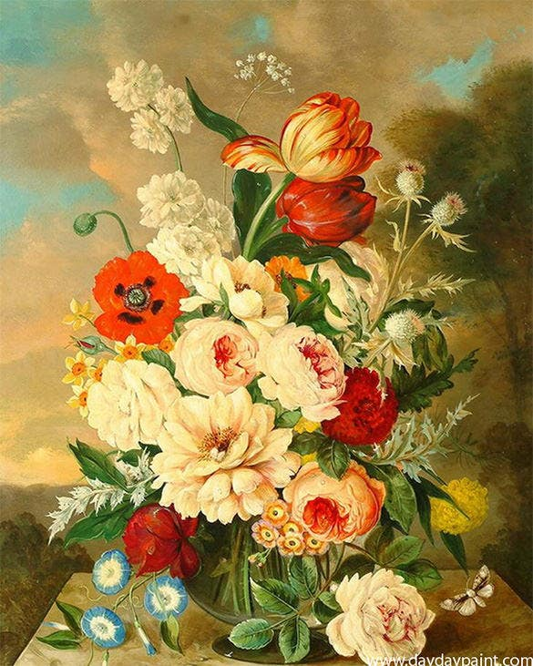 This Gorgeous Handmade Painting Has A Variety Of Different Flowers Put Together In Bouquet And Placed Lovely Glass Vase The