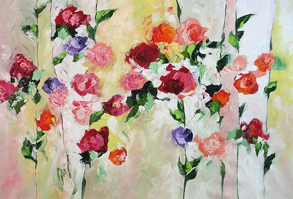 abstract roses landscape flower painting