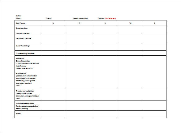 Teacher Weekly Lesson Plan Free Word Example Template