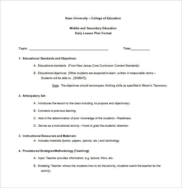 Teacher Lesson Plan Template Free Sample Example Format - College lesson plan template