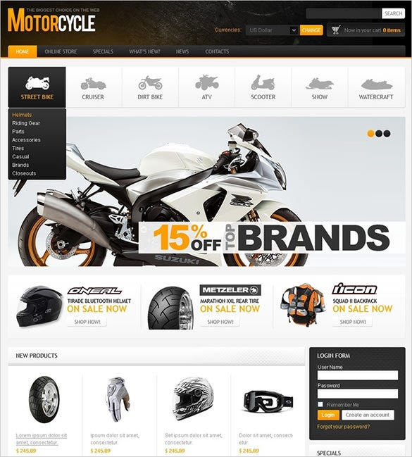 motorcycle store virtuemart theme