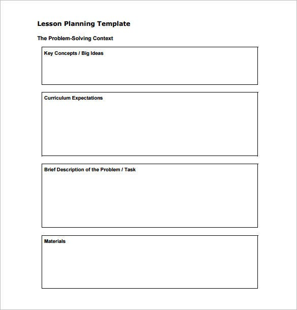 Teacher Lesson Plan Template Free Sample Example Format - Lesson plan template for preschool teachers