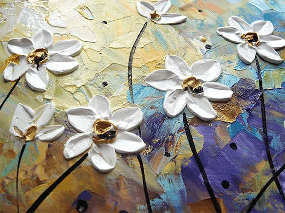 brown turquoise flower painting