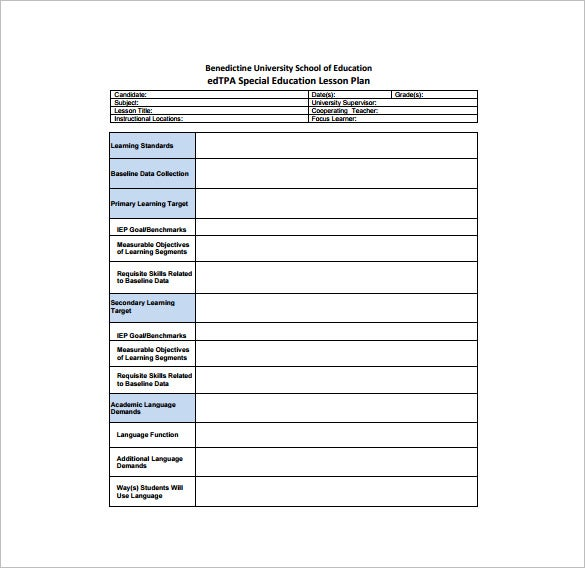 Special Education Teachers Lesson Plan Sample PDF