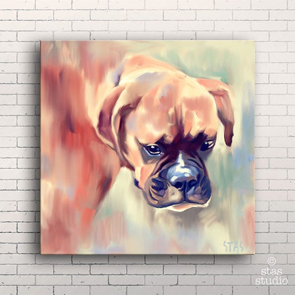 boxer dog pet portrait painting