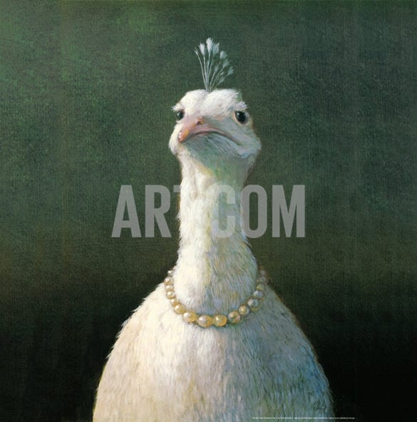 pet portrait painting of fowl with pearls