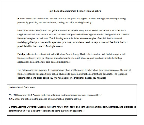 Lesson Plan Example High School Lesson Plan Template  Free