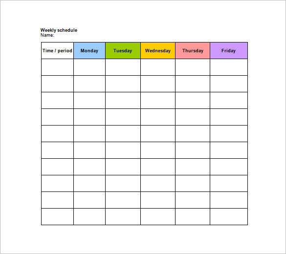 Download Blank Weekly Schedule Template Printable Doc  Microsoft Word Weekly Calendar