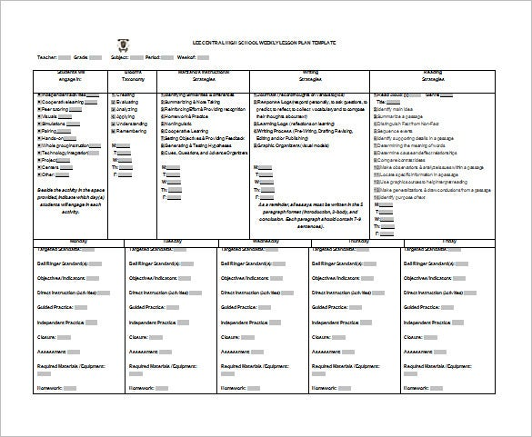 High School Lesson Plan Template – 9+ Free Sample, Example, Format