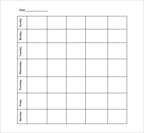 Blank Schedule Template   Free Word Excel Pdf Format Download