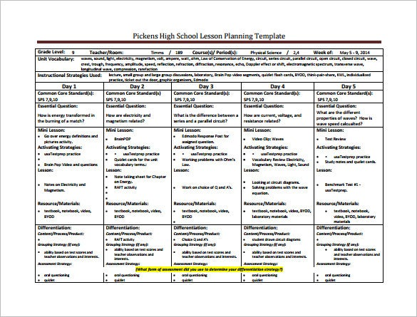 High School Lesson Plan Template   Free Sample Example Format