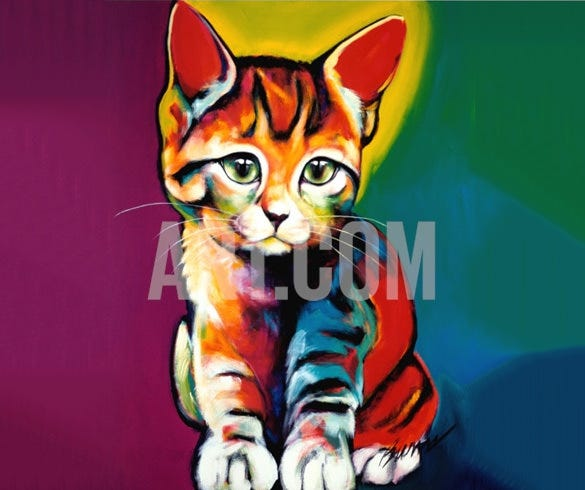 landy the pet cat portrait painting