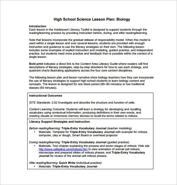 Lesson Plan Example Weekly Lesson Plan For Students Free Pdf - High school lesson plan template