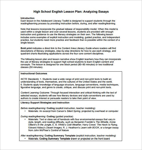 Sample Lesson Plan High School  Blank Calendars