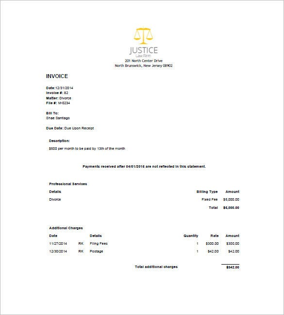 legal invoice sample