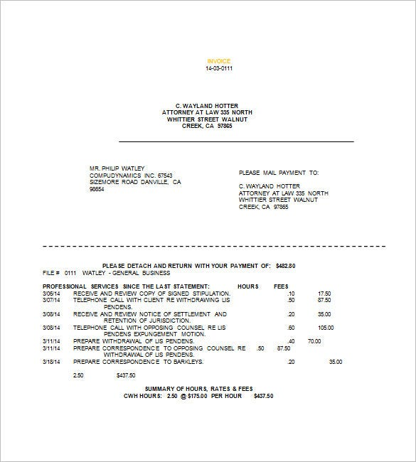 Legal Invoice Template   Free Sample Example Format Download