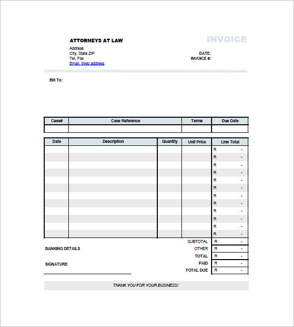 Legal Invoice Template 8 Free Word Excel PDF Format Download – Examples of Invoices for Services Rendered