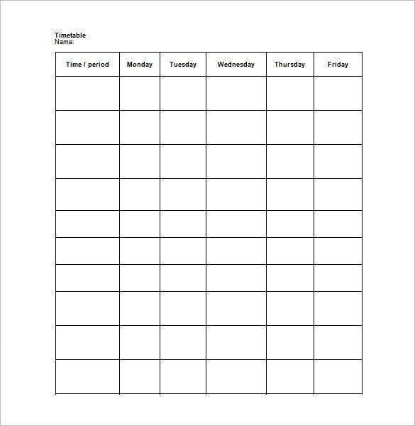 Weekly Schedule Template 9 Free Word Excel PDF Format – Free Weekly Schedule Template