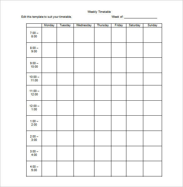 Weekly Schedule Template - 9+ Free Word, Excel, Pdf Format