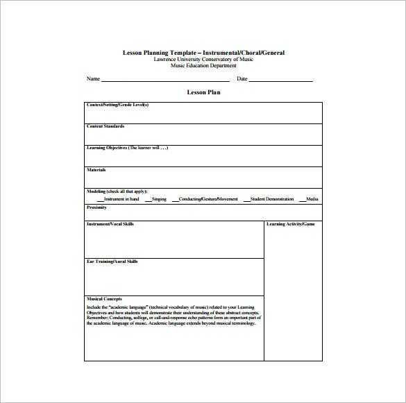 Music lesson plan template 6 free sample example for Free lesson plan templates