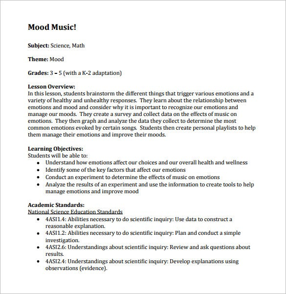 Music Lesson Plan Template 8 Free Sample Example Format