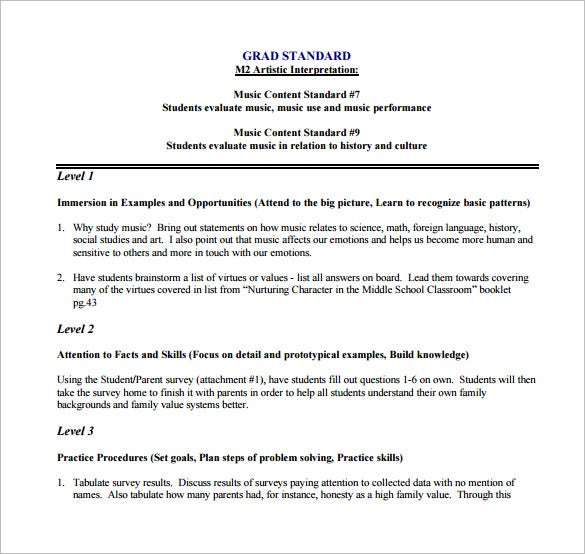 Music Lesson Plan Template Free Sample Example Format - History lesson plan template