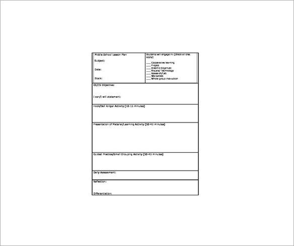 Middle School Lesson Plan Template   Free Word Excel