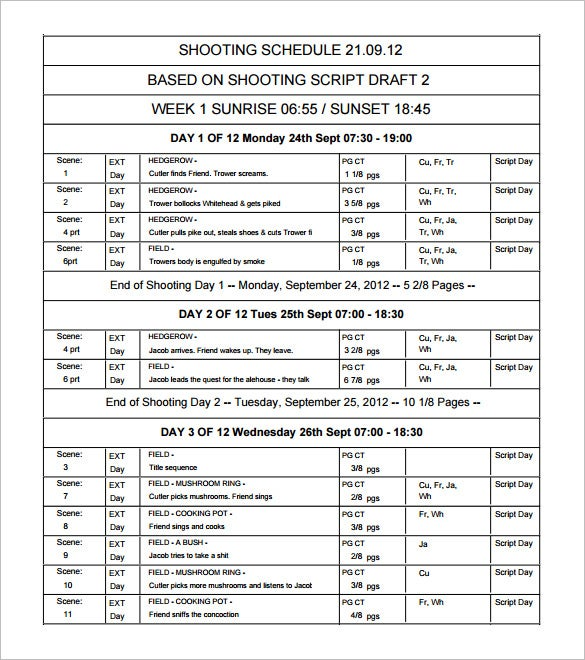 Film shooting schedule template 14 free word excel pdf format download the film shooting schedule in pdf format pronofoot35fo Image collections
