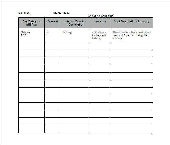 Panel Schedule Template Geminifmtk - Production calendar template