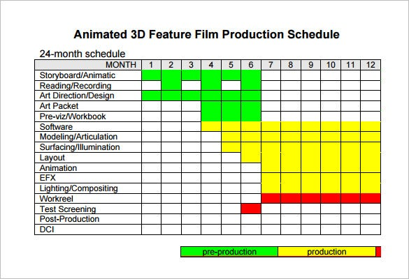 Film Shooting Schedule Template   Free Word Excel Pdf Format