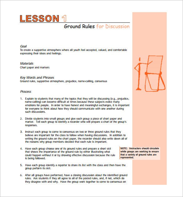 free class room middle school lesson plan pdf template