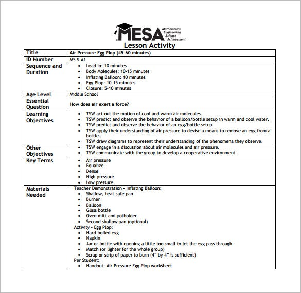 mesa middle school lesson plan free pdf download