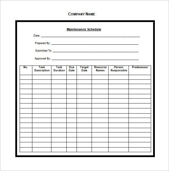 blank maintenance schedule template word doc