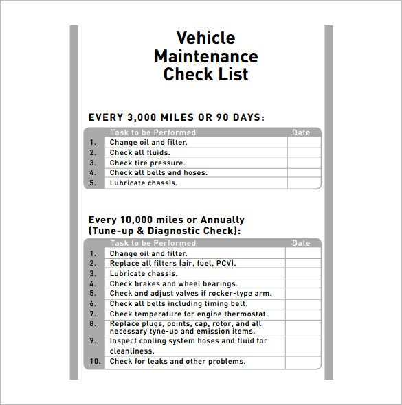 Printables Template Of A Vehicle Check In List vehicle maintenance schedule template 8 free word excel pdf check list download