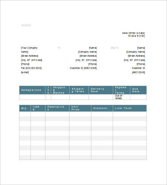 Generic Invoice Template   Free Word Excel Pdf Format Download