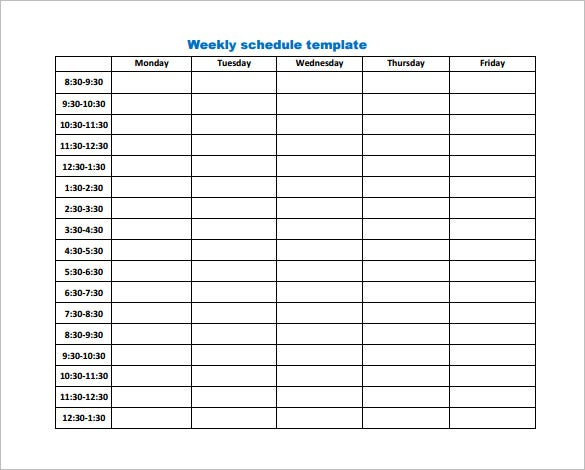 Weekly Work Schedule Template - 8+ Free Word, Excel, PDF, Format ...