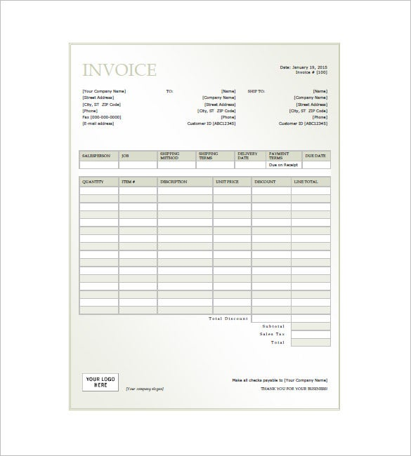 sample generic invoice template