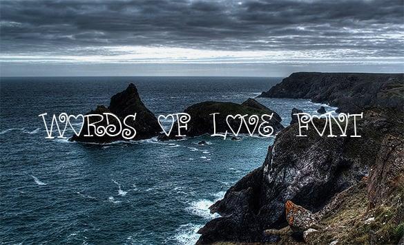 words of love romantic font