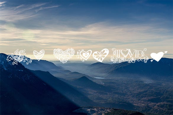 kg heart romantic font