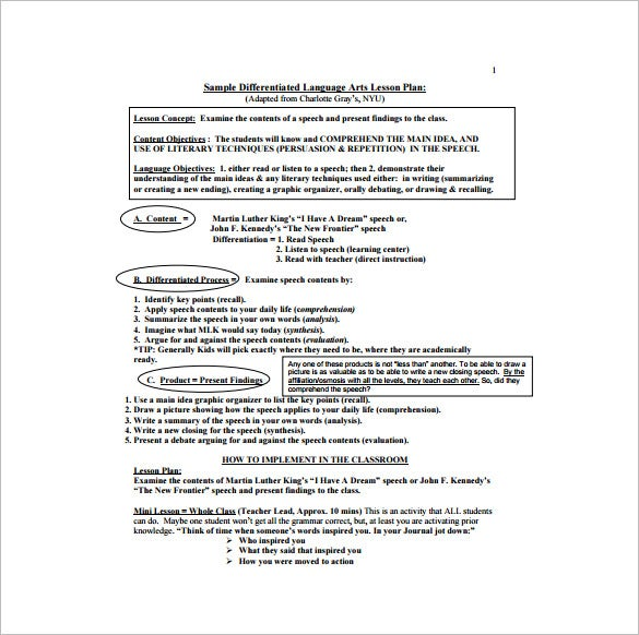 differentiated language arts lesson plan free pdf