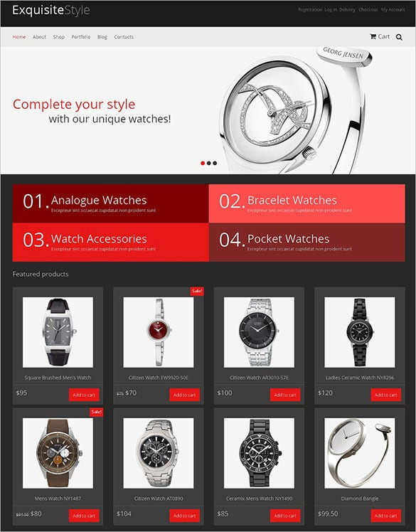 stylish watch shop jigoshop template