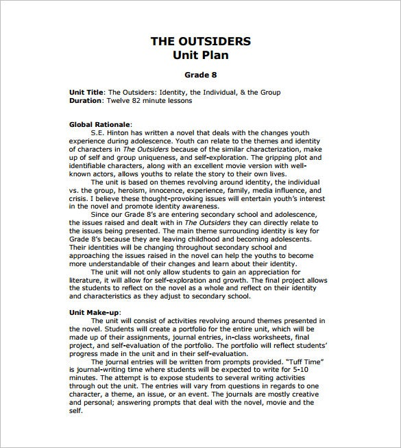 outsiders unit lesson plan free pdf download