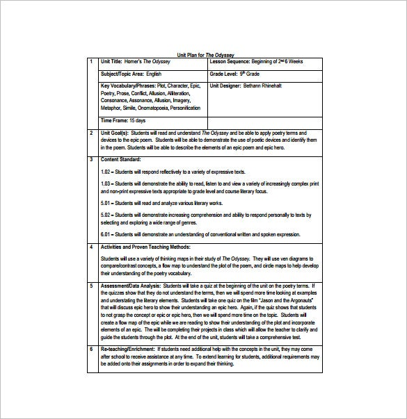 Unit Lesson Plan Template  Free Word Pdf Documents Download