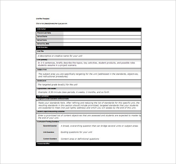 Unit Lesson Plan Template   Free Sample Example Format Download