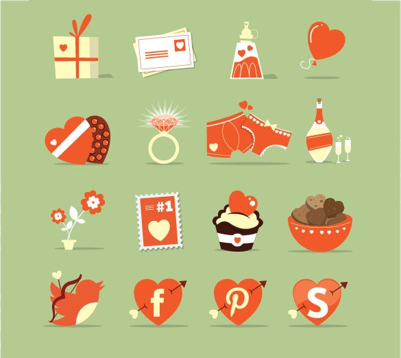 love elements cartoon icons