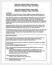 Lesson Plan Template Free Word Excel PDF Format Download - History lesson plan template