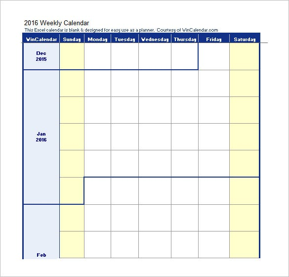 Blank Weekly Work Schedule Template Excel Download